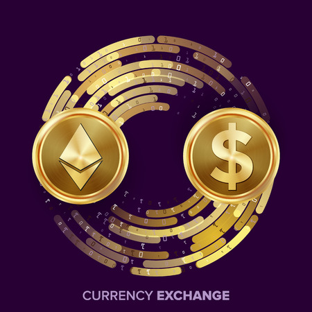 rate: Digital Currency Money Exchange Vector. Ethereum Dollar. Fintech Blockchain. Gold Coins With Digital Stream. Cryptography. Conversion Commercial Operation. Business Investment. Financial Illustration