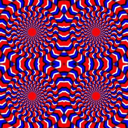 回転の催眠。永久回転錯覚。回転の錯視の明るい背景。目の錯覚スピン サイクル。ベクトル図