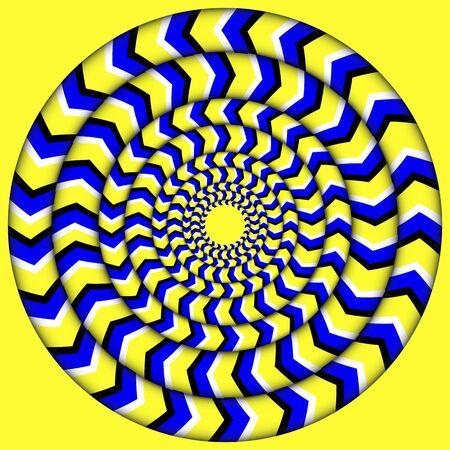 Hypnoticum van rotatie. Perpetual Rotation Illusion. Achtergrond met heldere optische illusies van rotatie.