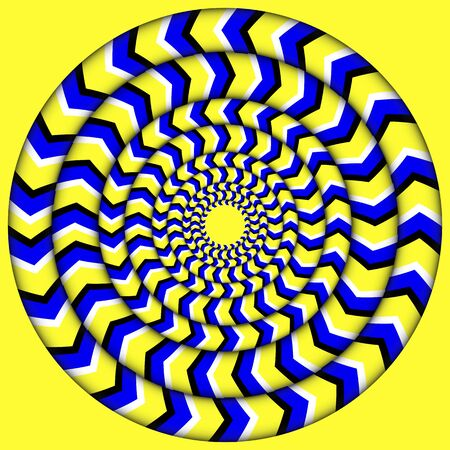 Hypnotic Of Rotation. Perpetual Rotation Illusion. Background With Bright Optical Illusions of Rotation.