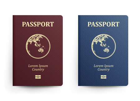 emigration: Passport With Map. Australia. Realistic Vector Illustration. Red And Blue Passports With Globe. International Identification Document. Front Cover. Isolated