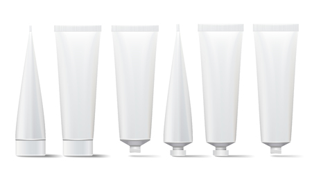 Cosmetic Tube Set. Vector Mock Up. Cosmetic, Cream, Tooth Paste, Glue White Plastic Tubes Open And Closed Set Packaging Realistic Illustration. Isolated