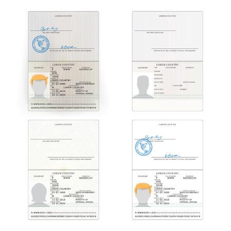 国際パスポート セット ベクトル。サンプルの個人データのページです。国際的身分証明書です。ビジネス、観光の概念。