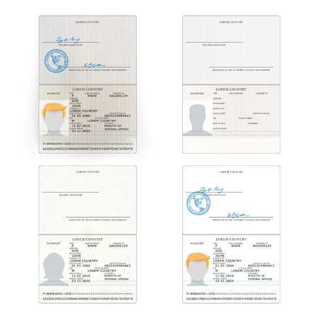 International Passport Set Vector. Sample Personal Data Page. International Identification Document. Business, Tourism Concept.