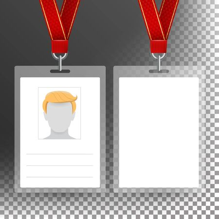 Blank Badge With Ribbon, Lanyard Vector. Identification Card Template. Transparent