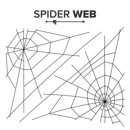hector: Halloween Spider Web Vector. Black Spider Web Isolated On White. Monochrome Hector Venom Cobweb For Halloween Design