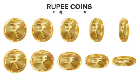 asian business: Rupee 3D Gold Coins Vector Set. Realistic Illustration. Flip Different Angles. Money Front Side. Investment Concept. Finance Coin Icons, Sign, Success Banking Cash Symbol. Currency Isolated On White Illustration