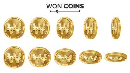 Won 3D Gold Coins Vector Set. Realistic Illustration. Flip Different Angles. Money Front Side. Investment Concept. Finance Coin Icons, Sign, Success Banking Cash Symbol. Currency Isolated On White