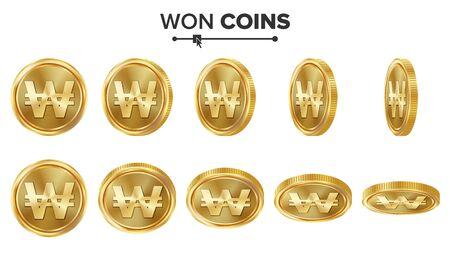 Won 3D gouden munten Vector Set. Realistische illustratie. Verschillende hoeken omdraaien. Geld voorkant. Investeringsconcept. Financiën Muntpictogrammen, Teken, Succes Bankwezen Contant Geldsymbool. Munteenheid Op Wit Wordt Geïsoleerd Vector Illustratie