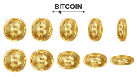 Bitcoin 3D Gold Coins Vector Set. Realistic. Flip Different Angles. Digital Currency Money. Investment Concept. Cryptography Finance Coin Icons, Sign. Fintech Blockchain. Currency Isolated On White