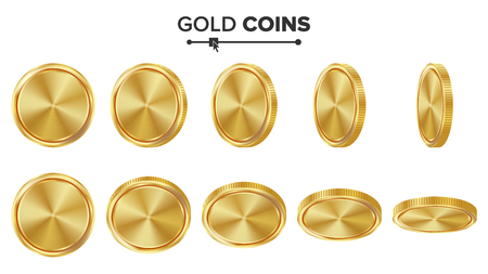 Empty Gold Coins Vector Set. Realistic Template Illustration. Flip Different Angles. Blank Money Front Side. Investment Concept. Finance Coin Icon, Sign, Success Banking Cash Symbol. Currency Isolated Vektoros illusztráció