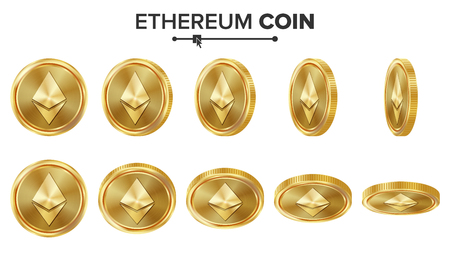 Ethereum Coin 3D Gold Coins Vector Set. Realistic. Flip Different Angles. Digital Currency Money. Investment Concept. Cryptography Coin Icons, Sign. Fintech Blockchain. Currency Isolated On White