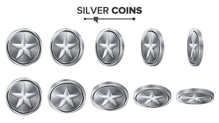 silver coins: Game 3D Silver Coin Vector With Star. Flip Different Angles. Achievement Coin Icons, Sign, Success, Winner, Bonus, Cash Symbol. Illustration Isolated On White. For Web, Game Or App Interface.
