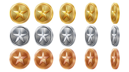 Game 3D Gold, Silver, Bronze Coins Set Vector With Star. Flip Different Angles. Achievement Coin Icons, Sign, Success, Winner, Bonus, Cash Symbol. Illustration Isolated. For Web, Game App Interface