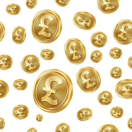 profusion: GBP Seamless Pattern Vector. Gold Coins. Isolated Background Illustration