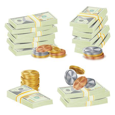 money packs: Money Banknotes Stacks Vector. 3D Cash, Gold Coins, Banknotes Piles Illustration