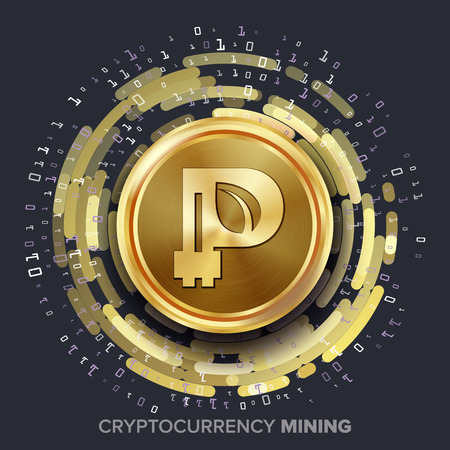 Mining Peercoin Cryptocurrency Vector. Golden Coin, Digital Stream. Futuristic Money. Fintech Blockchain. Processing Binary Data Arrays Operation. Cryptography, Financial Technology Illustration Illustration