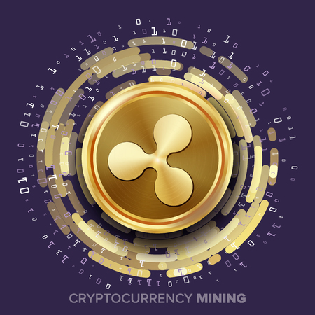 Mining Ripple Cryptocurrency Vector. Golden Coin, Digital Stream. Futuristic Money. Fintech Blockchain. Processing Binary Data Arrays Operation. Cryptography, Financial Technology Illustration Illustration