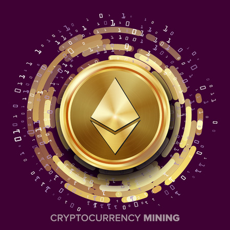 Mining Ethereum Cryptocurrency Vector. Golden Coin, Digital Stream. Futuristic Money. Fintech Blockchain. Processing Binary Data Arrays Operation. Cryptography, Financial Technology Illustration