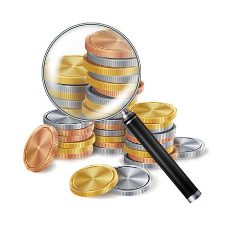 Money And Magnifying Glass Vector. Coins. Business Concept. Isolated Illustration Illustration