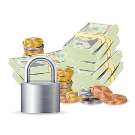 Finance Secure Concept Vector. Metal Coins, Money Banknotes Stacks, Steel Padlock. Finance Banking Illustration Illustration