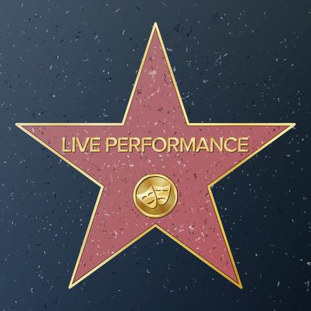 할리우드 명예의 거리. 벡터 스타 그림입니다. 유명한 보도 가로수가. 극장 희극 공연을 대표하는 희극 비극 마스크. 공적 기념탑