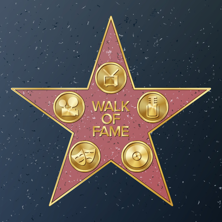 hollywood star: Hollywood Walk Of Fame. Vector Star Illustration. Famous Sidewalk Boulevard. Public Monument To Achievement