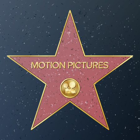 Hollywood Walk Of Fame. Vector Star Illustration. Famous Sidewalk Boulevard. Classic Film Camera Representing Motion Pictures. Public Monument To Achievement Illustration