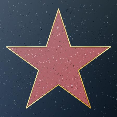 할리우드 명예의 거리. 벡터 스타 그림입니다. 유명한 보도 가로수가. 공적 기념탑 일러스트