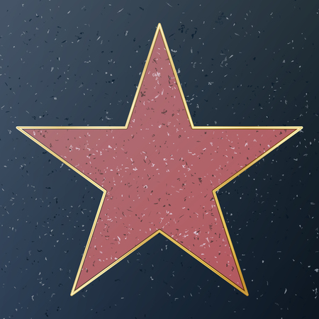 Hollywood Walk Of Fame. Vector Star Illustration. Famous Sidewalk Boulevard. Public Monument To Achievement