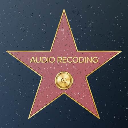 Hollywood Walk Of Fame. Vector Star Illustration. Famous Sidewalk Boulevard. Phonograph Record Representing Audio Recording Or Music. Public Monument To Achievement