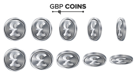 profusion: Money. GBP 3D Silver Coins Vector Set. Realistic Illustration. Flip Different Angles. Money Front Side. Investment Concept. Finance Coin Icons, Sign, Success Banking Cash Symbol. Currency Isolated