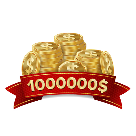 Jackpot Winner Casino Background Vector. Golden Coins Treasure. Winner Sign Lucky Symbol Template.