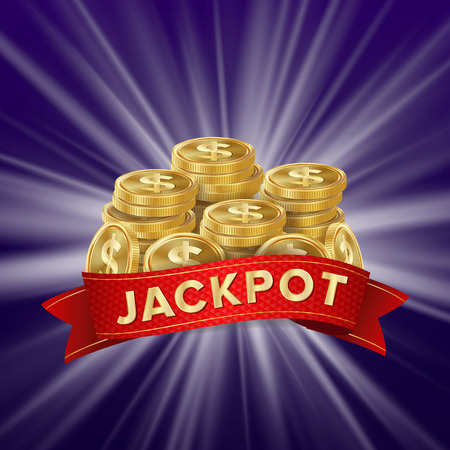 Jackpot Background Vector. Golden Casino Treasure. Big Win Banner For Online Casino, Card Games, Poker, Roulette.