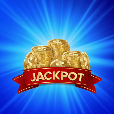 Jackpot Background Vector. Golden Casino Treasure. Winner Concept Illustration. Gold Coins