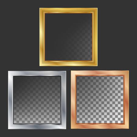 Gold, Silver, Bronze, Copper Metal Frames Vector Square Realistic