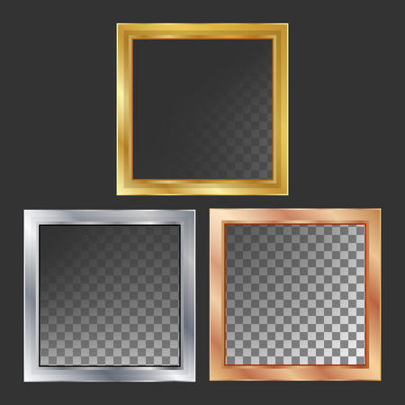 Gold, Silver, Bronze, Copper Metal Frames Vector Square Realistic