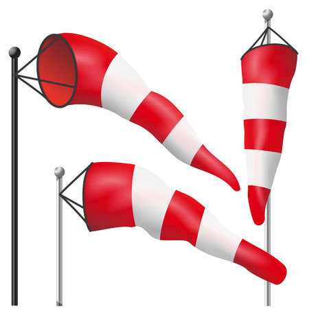 meteorologist: Windsock Sign Isolated Vector. Meteorology Aviation Red And White Illustration