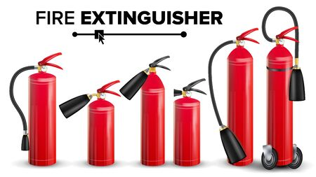 Fire Extinguisher Set Vector. Different Types. Metal Glossiness 3D Realistic Red Fire Extinguisher Isolated Illustration Ilustração