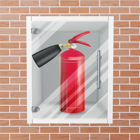 smother: Fire Extinguisher In Wall Niche Vector. Realistic Red Fire Extinguisher Illustration