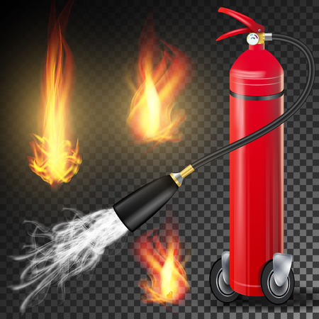 smother: Fire Extinguisher Vector. Burning Fire Flame And Metal Glossiness 3D Realistic Red Fire Extinguisher. Transparent Illustration