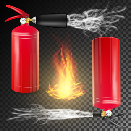 Red Fire Extinguisher . Fire Flame Sign And Metal Red Fire Extinguisher. Transparent Background