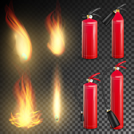 Fire Extinguisher Vector. Sign 3D Realistic Fire Flame And Red Fire Extinguisher. Transparent Background Illustration