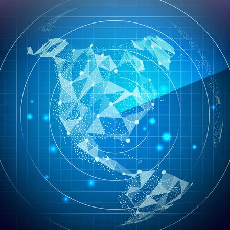 Radar Screen. North America. Digital Screen With World Map. Technology Background. Illustration