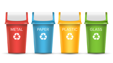 Colorful Recycle Trash Bins Vector. Set Of Realistic Red, Green, Blue, Yellow Container Buckets. Isolated On White Background Illustration
