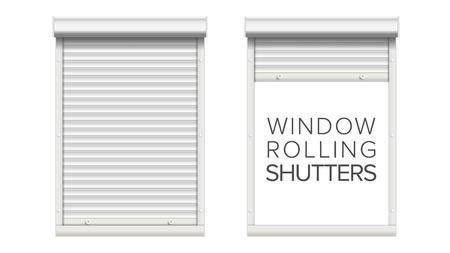 롤링 셔터 벡터와 창입니다. 열리고 닫혔다. 전면보기. 흰색 그림에 격리. 스톡 콘텐츠 - 83390554