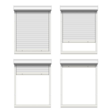 Vector Rolling Shutters. White Metallic Roller Shutter Isolated On White Background Illustration.