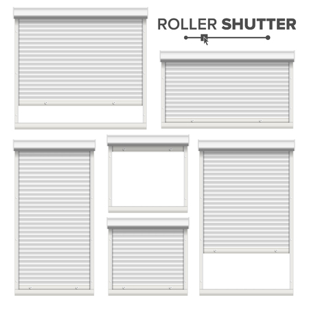 White Roller Shutters Vector. Window, Door, Garage, Storage Roller Shutters. Opened And Closed. Front View. Isolated