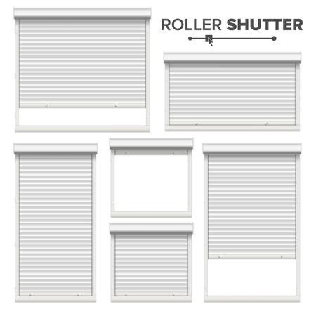 Witte rolluiken Vector. Raam, deur, garage, opberg rolluiken. Geopend en gesloten. Vooraanzicht. Geïsoleerd Stock Illustratie