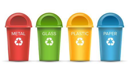 wastebasket: Recycling Bins Isolated Vector. Set Of Red, Green, Blue, Yellow, White Buckets. For Paper, Glass, Metal, Plastic Recycling Waste Sorting. Isolated